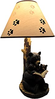 Black Bear Reading to Curious Cubs Table Lamp w/Paw Print Shade