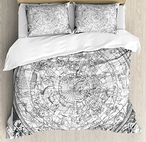 Ambesonne Constellation Duvet Cover Set, Detailed Vintage Boreal Hemisphere Astronomy Antique Artwork Print, Decorative 3 Piece Bedding Set with 2 Pillow Shams, Queen Size, Grey