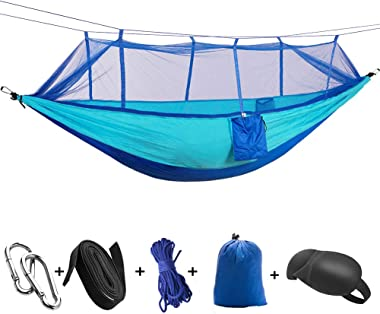 HappyGo Camping Hammock with Net Tree Strap Carabiners Bug Mosquito Net, Lightweight Parachute Hammock Portable for Beach Bac
