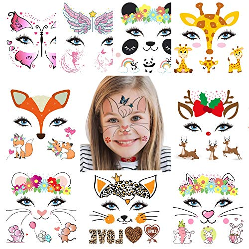 Fanoshon Animal Temporary Face Tattoo Sticker Set for Kids Adults, Water Transfer Butterfly Panda Deer Giraffe Fairy Floral Festival Body Paint Makeup Decoration Stickers for Halloween
