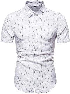 Abeaicoc Men's Fit Regular Shirt Up Button Summer Short Sleeve Floral Print Dress Work Shirt
