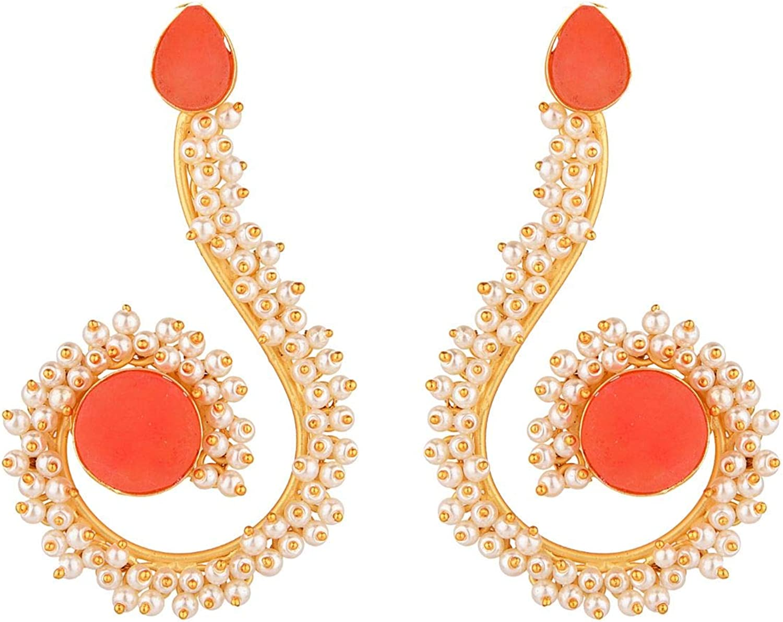 Efulgenz Indian Jewelry Bollywood Faux Pearls Stone Long Dangle Drop Earrings Set for Women