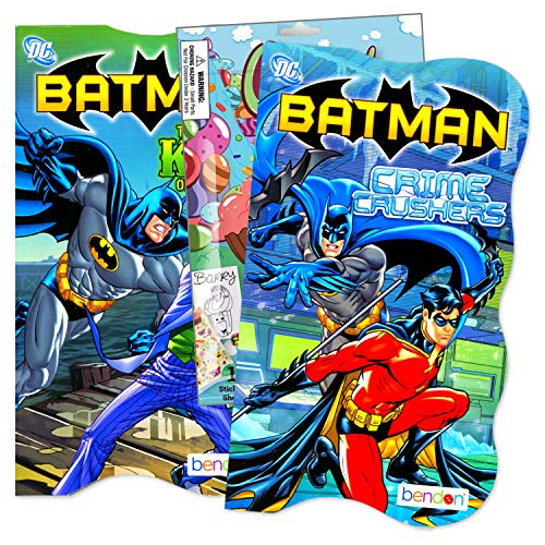Primary Colors Shaped Board Book Set for Early Readers Bundle Includes Separately Licensed Activity Pack with Stickers Crayons and Learning to Read Bookmark for Kids (Batman)