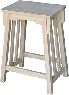 International Concepts 24-Inch Mission Counter Height Stool, Unfinished