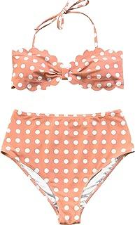 Women's Tropical Print Scallop Top High Waisted Bikini
