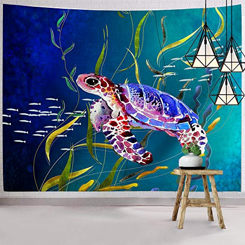 Hexagram Ocean Tapestry Wall Hanging Colorful Turtle Tapestry Hippie Psychedelic Cute Sea Animal Small Tapestries for Bedroom College Dorm Room Decor