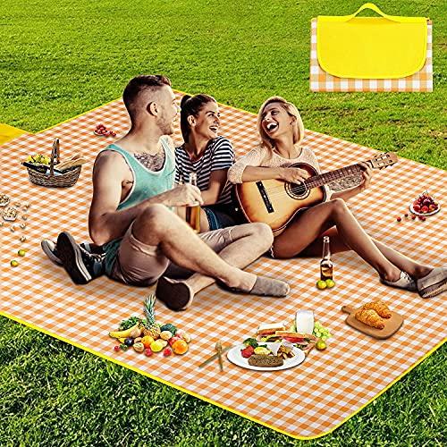 Koqit wasserdichte Picknickdecke, Sanddichte Picknick-Matte,2-4 Personen Stranddecke Campingdecke Wärmeisoliert Familiengröße Matte für Picknicks,Essen im Freien,Camping,Strand 200 x 145 cm Gelb