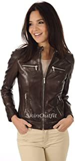 SKINOUTFIT Womens Leather Jackets Motorcycle Bomber Biker Genuine Lambskin 59