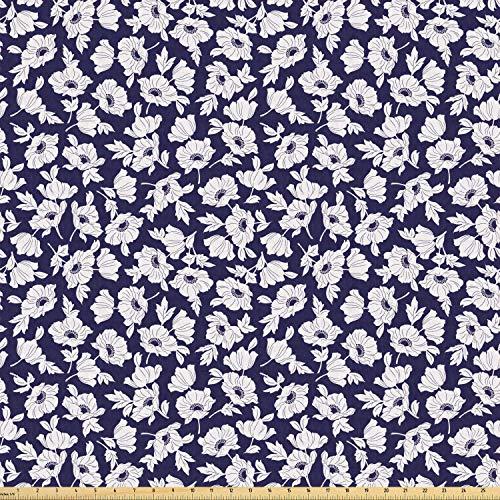 ABAKUHAUS Navy and White Stof per strekkende meter, Poppy Corsage, Stretch Gebreide Stof voor Kleding Naaien en Kunstnijverheid, 2 m, Navy Blue White