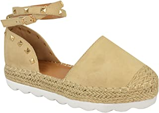 Fashion Thirsty Womens Espadrilles Ankle Strap Sandals Gold Stud Summer Shoes