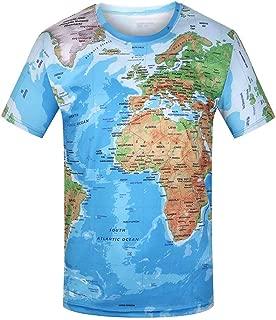 T-Shirts for Men, Fashion Men's Casual World Map 3D Print O-Neck Short Sleeve T-Shirt Tops Blouses