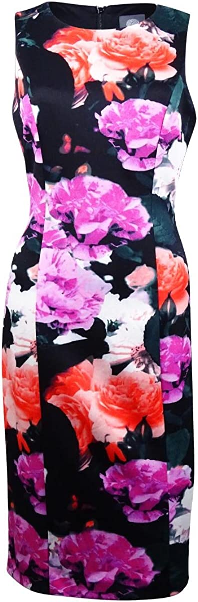 Vince Camuto Womens Floral Print Sleeveless Casual Dress Black 8