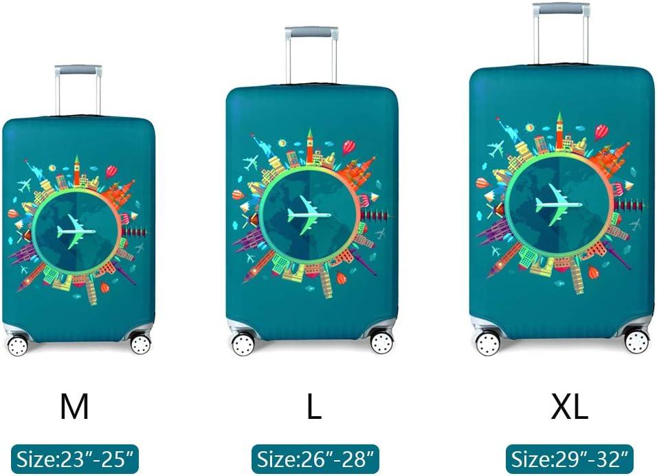 OrgaWise Custodia bagaglio da viaggio Custodia protettiva trolley da viaggio per trolley da 22-28 pollici invia un tag bagagli gratuito Verde-piano, L