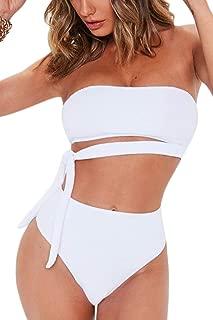 FAFOFA Women's Sexy Bandeau Tie Waist High Waisted Two Pieces Bikini Set Swimsuit