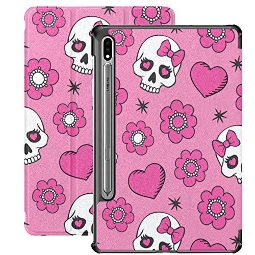Funda para Samsung Galaxy Tab S7/S7 Plus, diseño de lazo y calavera rosa para Samsung Galaxy Tab S7 11 pulgadas S7 Plus 12.4 pulgadas