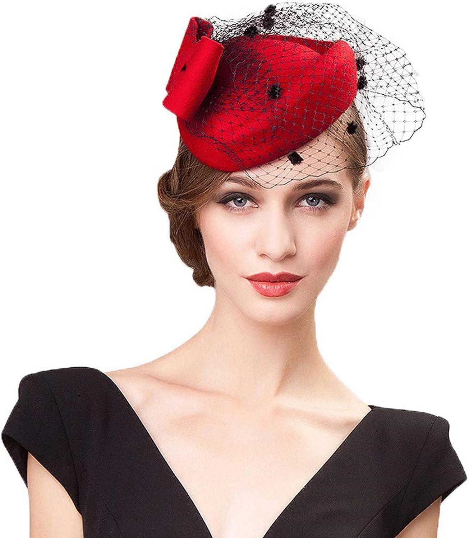 Giles Jones Wool Womens Pillbox Hats with Veils Bowknot Wedding Fedora Derby Cocktail Hats