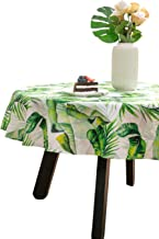 """Nobildonna Tropical Leaves Round Tablecloth Elegance Dining Table Cover Easy Care Polyester Luxurious Print Holiday Dinner Party Tablecloths—55""""R"""