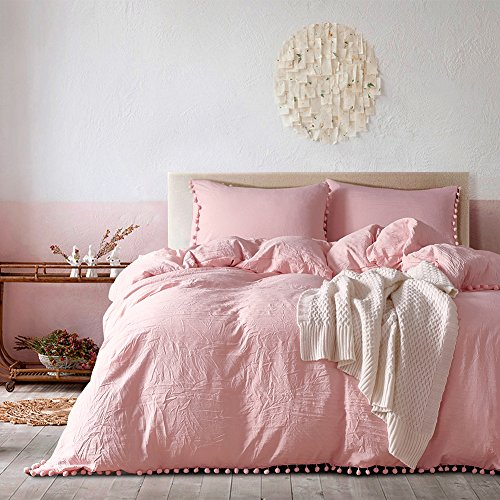 DuShow Pink Washed Cotton Chambray Duvet Cover Solid Color Casual Modern Style Bedding Set Relaxed Soft Feel Natural Wrinkled Look(Pink,Single)