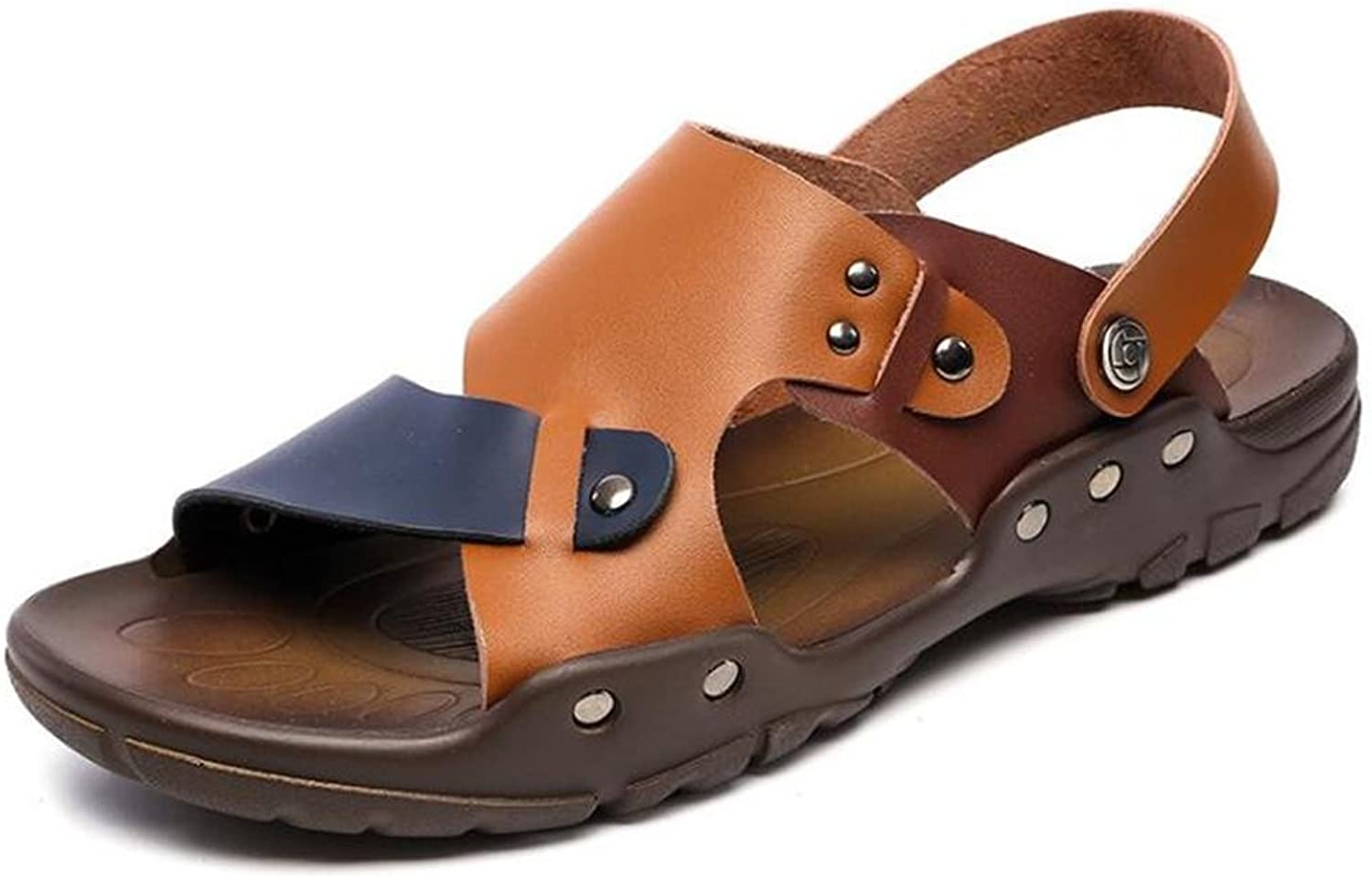 Men shoes Genuine Leather Rivet Sandals Beach Summer Open Toe Pull on Slipper Breathable Non-Slip Size 38 To 43