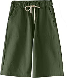 Elonglin Women's Bermuda Shorts Casual Summer Cotton Shorts Drawstring Elastic Waist Knee Length Loose Fit Straight Leg La...