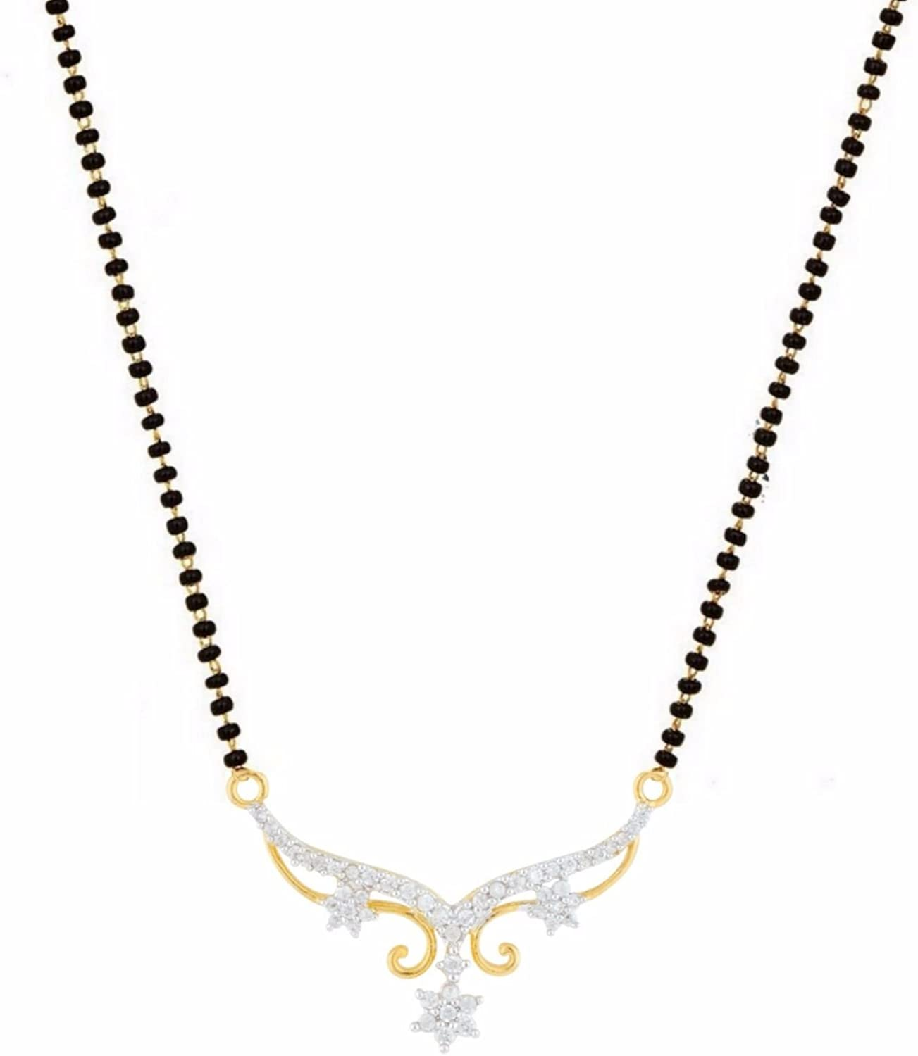 Efulgenz Indian Bollywood Traditional Gold Plated CZ Mangalsutra Pendant Necklace set jewelry for Women