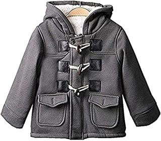 SLLSKY Toddler Boy's Cotton Blend Duffle Hoodies Fleece Toogle Coats