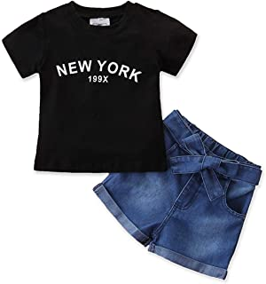 Toddler Baby Girls Denim Outfit Black Letter Tops T-Shirt + Jeans Short Pants Summer Two Piece Clothes Set
