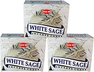 HEM White Sage Pack of 3 Incense Cones Boxes, 10 Cones Each, Traditionally Handrolled in India, Best Natural Fragrance Perfect for Prayers, Meditation, Yoga, Relaxation, Peace, Positivity, Healing