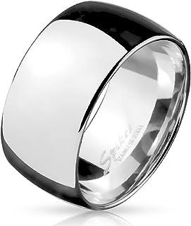 Anello in acciaio inossidabile argentato, lucidato a specchio, Unisex, Larghezza: 10 mm, Misura da 19 a 32.