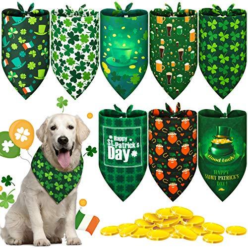 8 Stück St. Patrick's Day Hunde-Bandana, Kleeblatt, Haustier-Schal, irisches Kleeblatt, Dreieck-Lätzchen, grünes Hunde-Halstuch für Hunde, Katzen, Haustiere