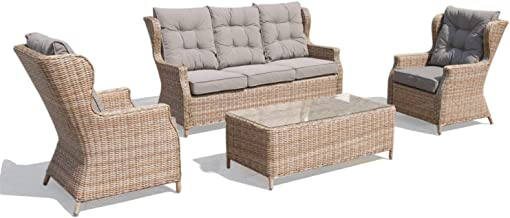 OSMEN Outdoor Patio Furniture - Evie 4PC Lounge Set - Outdoor Use Garden Poolside Balcony Sofa and Coffee Table, All Weath...