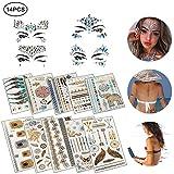 Tatuajes Temporales 10 Hojas Tribal Tatuajes Etiqueta Resistente al Agua Tatuaje en Oro Plata con 4 Hojas Cara Piedras Preciosas Joyas Pegatinas.