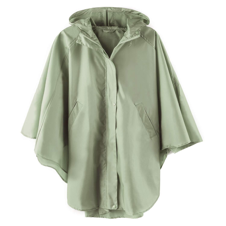LINENLUX レインポンチョ ジャケット コート フード付き 大人用 ポケット付き