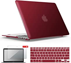 IBENZER MacBook Air 13 Inch Case, Soft Touch Hard Case Shell Cover with Keyboard Cover Screen Protector for Apple MacBook Air 13 A1369 1466 NO Touch ID, Wine Red, MMA13WR+2
