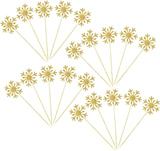 40 Pack Glitter Snowflake Cupcake Toppers Winter Theme Cake Decoration for Christmas Birthday Party Baby Shower Wedding Cake Decoration - Gold