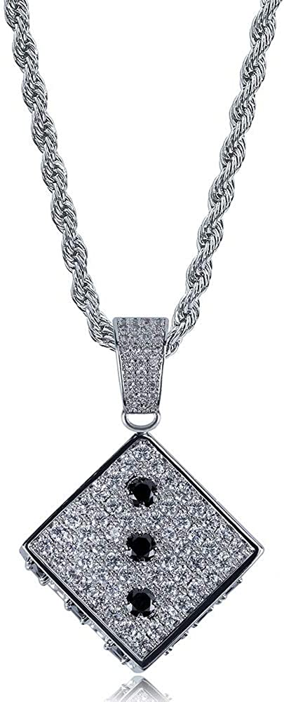 Moca Jewelry Iced Out Personalized Dice Pendant Necklace 18K Gold Plated Bling CZ Simulated Diamond Hip Hop Rapper Chain Necklace for Men Women