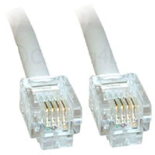 5m White ADSL Cable - High Quality (100% Copper wire) - Gold Plated Contact Pins - High Speed Internet Broadband - Router or Modem to RJ11 Phone Socket or Microfilter - White