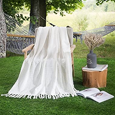 HollyHOME 100% Cotton Throw Blanket 50x60 Soft All Season Blanket for Bed or Couch