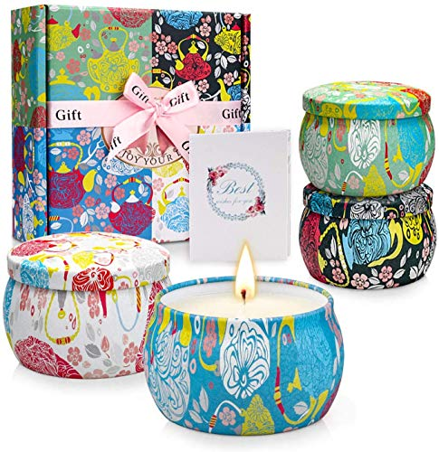 YINUO LIGHT Scented Candles Gift Set for Women, Aromatherapy Candles Stress Relief Soy Wax Travel Tin Fragrance Gift for Mother's Day Birthday Valentine's Day Weddings Christmas