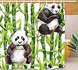 JgZATOA Cortina De Ducha Baño Impermeable Lindo Panda Verde Bambú Cortina Bañera Cortina Poliéster Baño Decoración Cortina con Ganchos180X200Cm