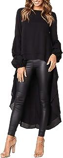 Women's Lantern Long Sleeve Round Neck High Low Blouse Tops Asymmetric Batwing Tunic Dress Shirt