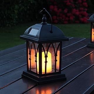 Festive Lights latarnia ogrodowa, zasilana energią słoneczną, efekt migotania, bursztynowe diody LED, 27 cm