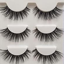 Imported Fiber 3D Mink False Eye lashes Handmade Reusable Long Cross Makeup Natural 3D Fake Thick Black EyeLashes 3 Pairs(3D-01)