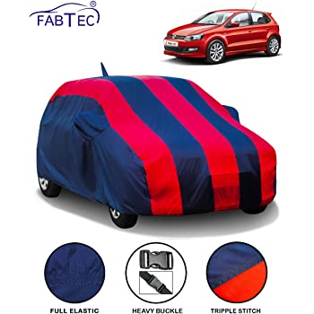 Fabtec Car Body Cover for Volkswagen Polo with Mirror Antenna Pocket (Red & Blue)