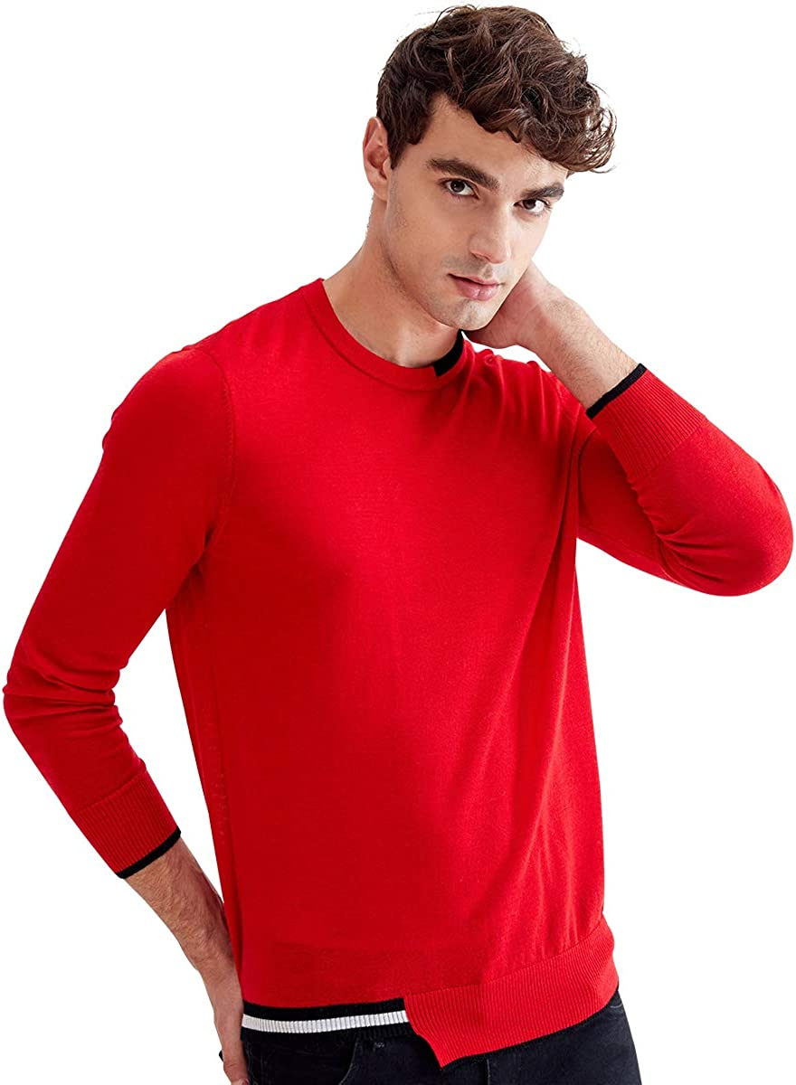 zhili Men's 100% Wool Round Neck Pullover Sweater