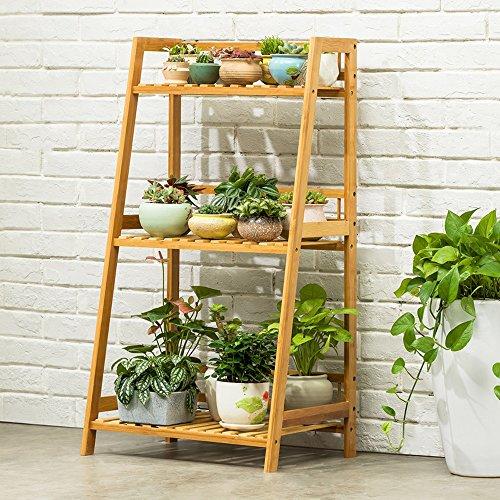 MILUCE 3 couches de bois de bambou Porte-pot de fleur Balcon multifonction salon intérieur Pot de fleur grille Étagères de plantes Étagère ( taille : 100*50*40CM )