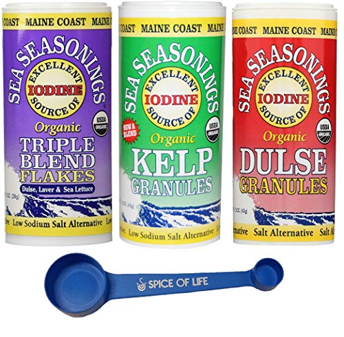 Maine Coast Sea Seasonings Organic Low Sodium Salt Alternatives, Triple Blend Flakes, Kelp Granules, and Dulse Granules, One 1-1.5 oz Canister of Each - with Spice of Life 4-in-1 Measuring Spoon