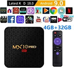 $30 » Android TV Box Android 9.0 OS Smart TV Box Media Player 4GB 32GB MX10 Pro Support USB 3.0 2.4G- 5G Dual-Band Wi-Fi 3D 4K Full HD H.265 100M Ethernet [2019 New] TTV Box