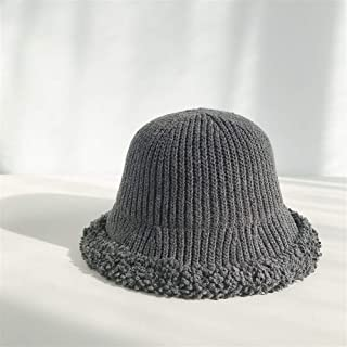 ZiWen Lu Korea ins Knit Wool hat Bucket hat Casual Soft Sister Autumn and Winter Influx of Female Wild Solid Literary Burr (Color : Grey, Size : One Size)