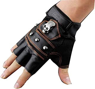CWJ Fashion New Skeleton Pattern Man Leather Motorcycle Driving Training Without Finger Gloves
